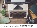 retro objects on wooden table | Shutterstock . vector #390722653