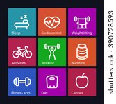 fitness thick line icons  fit... | Shutterstock .eps vector #390728593