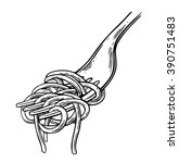 spaghetti on fork. vector... | Shutterstock .eps vector #390751483