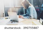 Small photo of Account manager working picture.Photo young business woman work with new startup project in office.Analyze document, plans.Generic design notebook on wood table, papers, documents.Horizontal, blurred