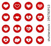 heart icon set with red circle... | Shutterstock . vector #390783913