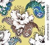 seamless floral felt tip pen...   Shutterstock . vector #390784987