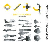 collection of black blots ink... | Shutterstock .eps vector #390786637