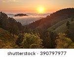 dense fog rolls in over the... | Shutterstock . vector #390797977