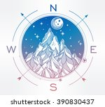 hand drawn mountain wind rose... | Shutterstock .eps vector #390830437