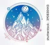 hand drawn mountain and the... | Shutterstock .eps vector #390830443