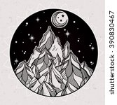 hand drawn mountain and the... | Shutterstock .eps vector #390830467