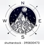 hand drawn mountain wind rose... | Shutterstock .eps vector #390830473