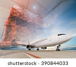 double exposure of air cargo... | Shutterstock . vector #390844033