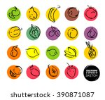 hand drawn fruits sketch.... | Shutterstock . vector #390871087