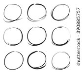 hand drawn scribble circles ... | Shutterstock .eps vector #390885757