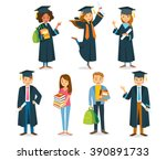 university students graduation | Shutterstock .eps vector #390891733