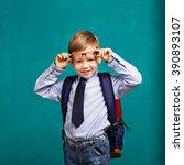 little boy in eyeglasses with... | Shutterstock . vector #390893107