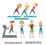 people work out in the fitness... | Shutterstock .eps vector #390899293