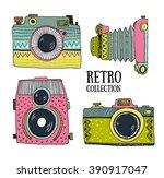 retro photo cameras set. vector ... | Shutterstock .eps vector #390917047