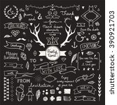 hand drawn hipster doodle... | Shutterstock .eps vector #390921703