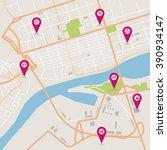 vector flat abstract city map... | Shutterstock .eps vector #390934147