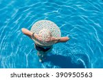 woman with hat  standing in the ... | Shutterstock . vector #390950563