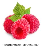 raspberries with leaves close... | Shutterstock . vector #390953707