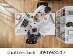 top view at office. two... | Shutterstock . vector #390963517