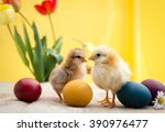 Colored Easter Eggs With Littl...