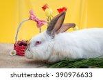 white easter rabbit in easter... | Shutterstock . vector #390976633