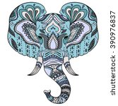 abstract elephant . ornate... | Shutterstock . vector #390976837