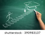 student making steps to his... | Shutterstock . vector #390983137