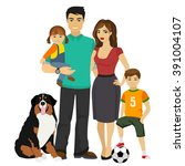 young happy family vector... | Shutterstock .eps vector #391004107