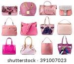 pink female handbags collection ... | Shutterstock . vector #391007023