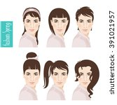 stock hairstyles. the theme of... | Shutterstock .eps vector #391021957