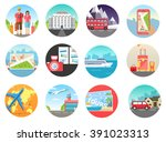 set of travel vacation tour... | Shutterstock .eps vector #391023313