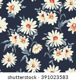 pretty daisy floral print  ... | Shutterstock .eps vector #391023583