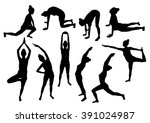 yoga woman silhouettes set | Shutterstock .eps vector #391024987