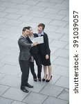 chinese business colleagues... | Shutterstock . vector #391039057