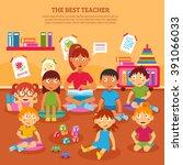 young kindergarten teacher... | Shutterstock .eps vector #391066033