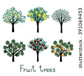 different vector fruit trees... | Shutterstock .eps vector #391069453