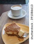 cheese cake and coffee   Shutterstock . vector #391086613