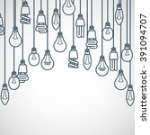 light bulbs hanging on cords  ... | Shutterstock .eps vector #391094707