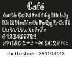 chalk latin alphabet. font with ... | Shutterstock .eps vector #391103143
