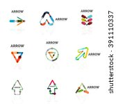 set of linear arrow abstract... | Shutterstock .eps vector #391110337