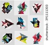 set of paper design style... | Shutterstock .eps vector #391111303