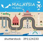 malaysia travel background ... | Shutterstock .eps vector #391124233