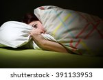 young woman in bed with eyes... | Shutterstock . vector #391133953