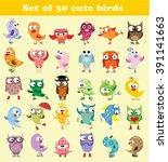set of cute cartoon bird. | Shutterstock .eps vector #391141663