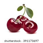 Cherry  Group Isolated On Whit...