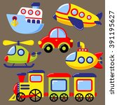 set of cartoon transport icon.... | Shutterstock .eps vector #391195627