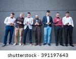 group of elegant young... | Shutterstock . vector #391197643
