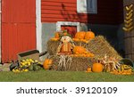 Harvest Display With Scarecrow...