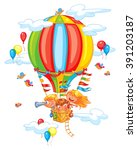 cartoon kids riding hot air... | Shutterstock .eps vector #391203187